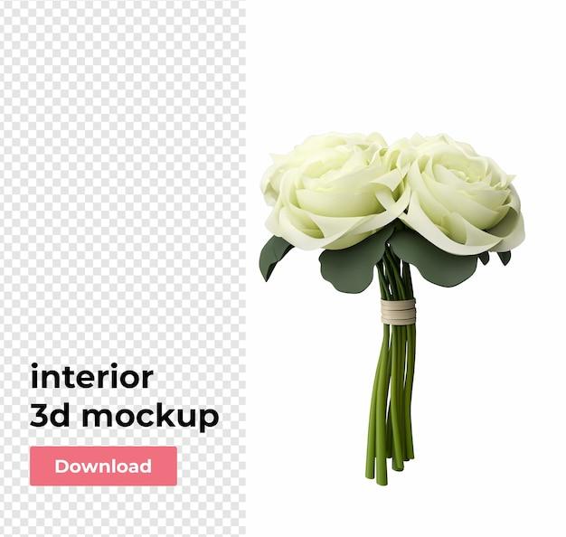 Bloemendecoratie voor huis in 3d-rendering Premium Psd