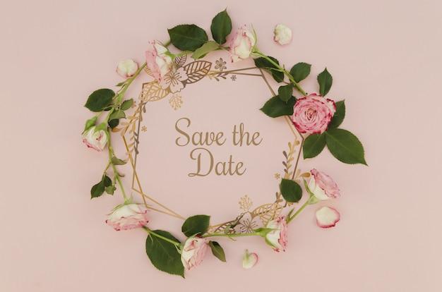 Bloemenkroon bewaart de datum met rozen Gratis Psd