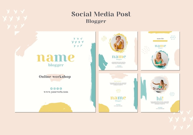 Blogger concept social media post Premium Psd