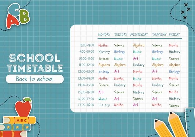 Blue back to school-tijdschema Gratis Psd