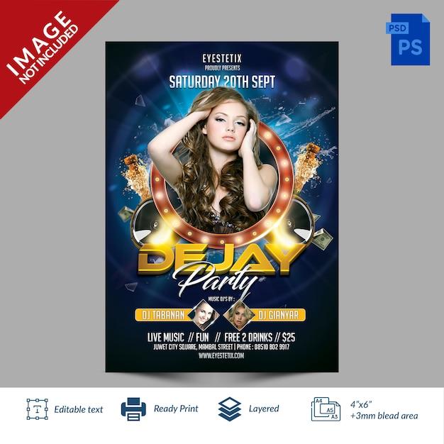 Blue light dejay party flyer Premium Psd
