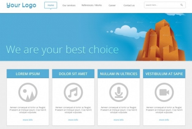 Blue web template in plat design Gratis Psd
