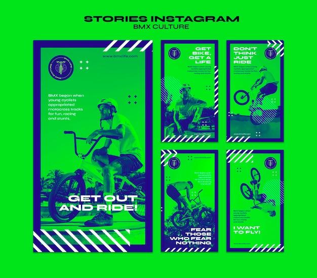 Bmx cultuur concept instagram verhalen sjabloon Premium Psd
