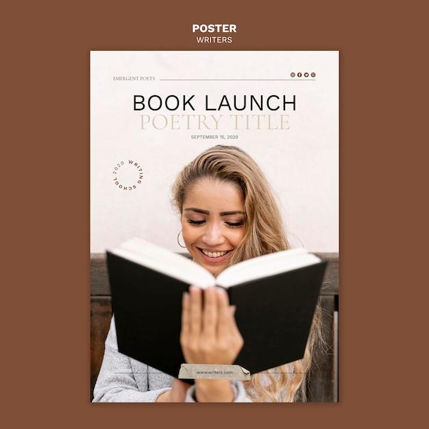 Boek lancering evenement poster sjabloon Gratis Psd