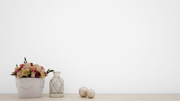 Boeket van kunstmatige rozen in witte vaas, blinde muur met copyspace Gratis Psd