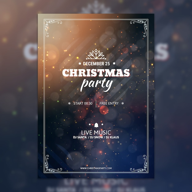 Bokeh kerstfeest poster mockup Gratis Psd