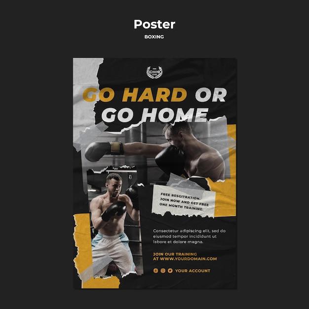Bokstraining poster sjabloon Gratis Psd