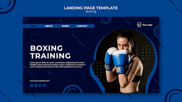 Bokstraining workout fit bestemmingspagina Gratis Psd