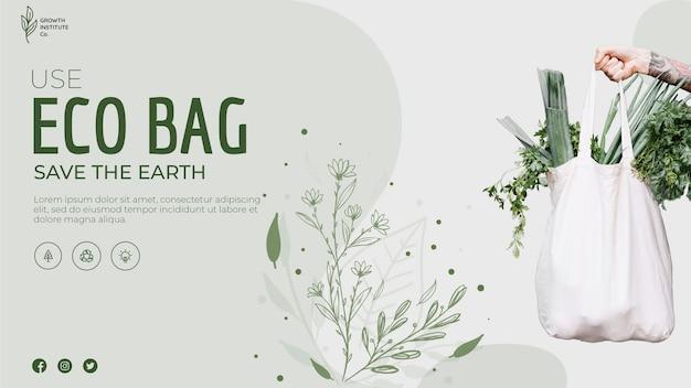 Bolsa ecológica para verduras y pancarta de compras PSD gratuito
