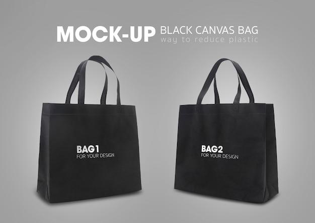 Las bolsas de la compra con asas negras maqueta PSD Premium