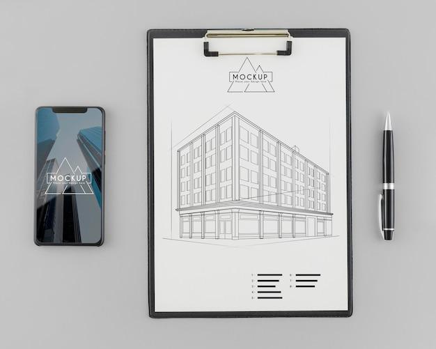 Bosquejo de arquitectura de vista superior con maqueta PSD gratuito