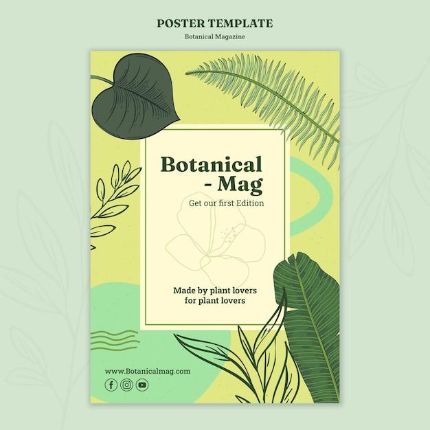 Botanische tijdschrift poster sjabloon Gratis Psd