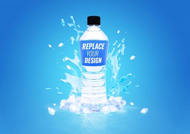 Botella de plástico agua fría maqueta publicidad PSD Premium