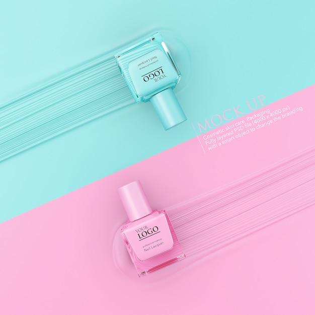 Bottiglia di modello di modello di smalto per unghie su sfondo pastello. Psd Premium