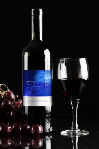 Bottiglia di vino mock up di progettazione Psd Premium