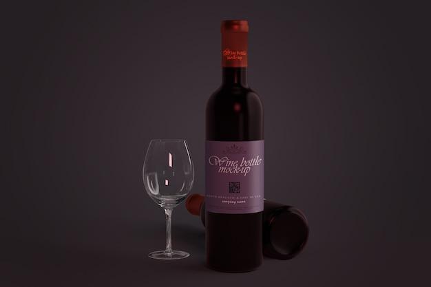 Bottiglia di vino mockup Psd Premium
