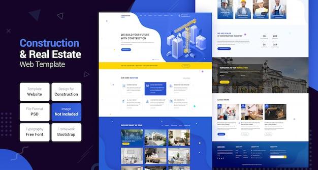 Bouw industrie & onroerend goed bedrijf websjabloon Premium Psd