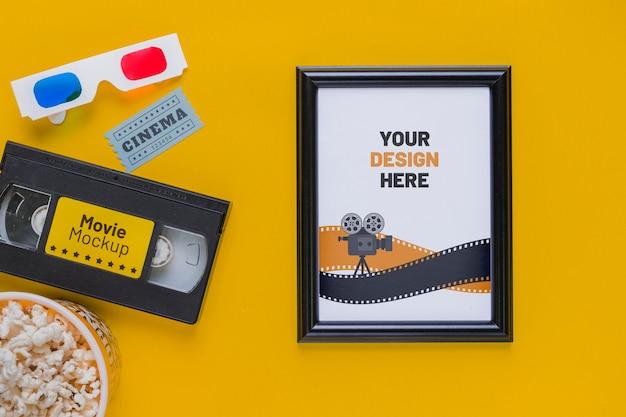 Boven weergave bioscoop concept met popcorn Gratis Psd