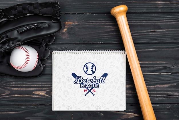 Bovenaanzicht amerikaans honkbal concept Gratis Psd