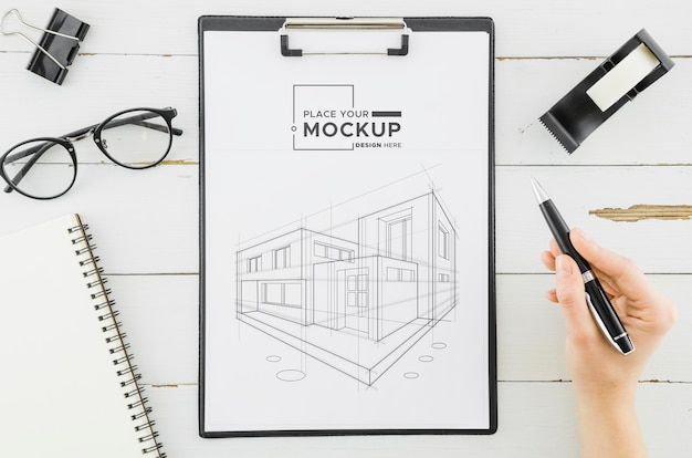 Bovenaanzicht architectuurontwerp met mock-up Gratis Psd