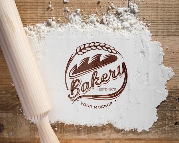 Bovenaanzicht bakkerij bloem op de tafel met mock-up Gratis Psd