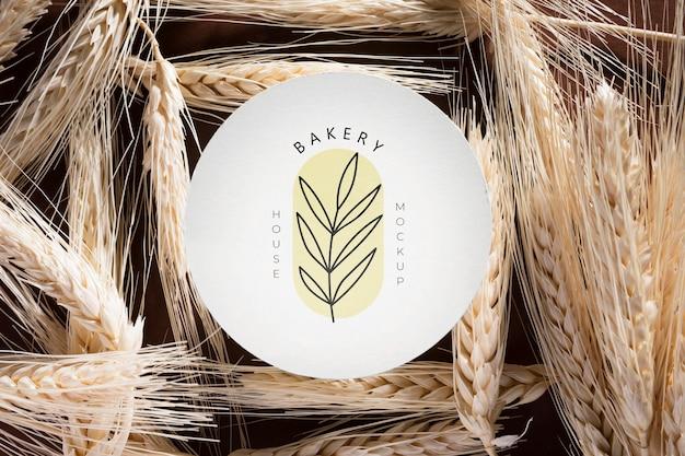 Bovenaanzicht bakkerij concept met tarwe Gratis Psd