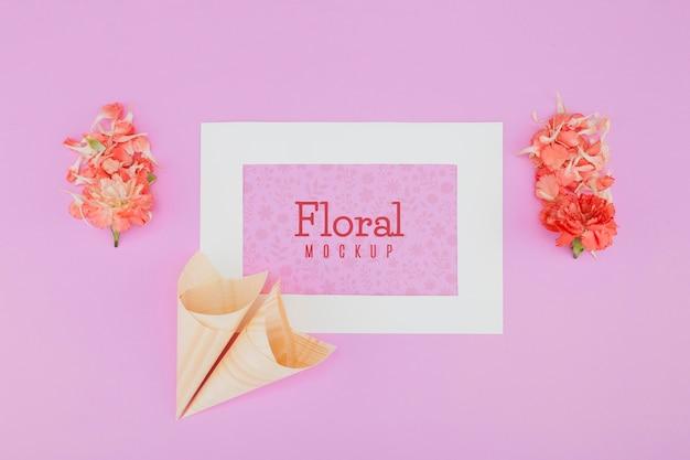 Bovenaanzicht bloemen mock-up frame Gratis Psd