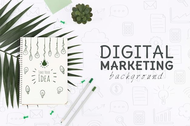 Bovenaanzicht digitale marketing mockup Gratis Psd
