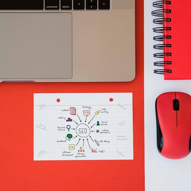 Bovenaanzicht digitale marketingbureau concept Gratis Psd