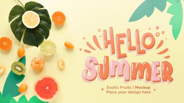Bovenaanzicht hallo zomer met exotisch fruit Gratis Psd