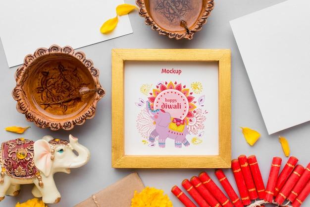 Bovenaanzicht happy diwali festival ingelijste mock-up Gratis Psd