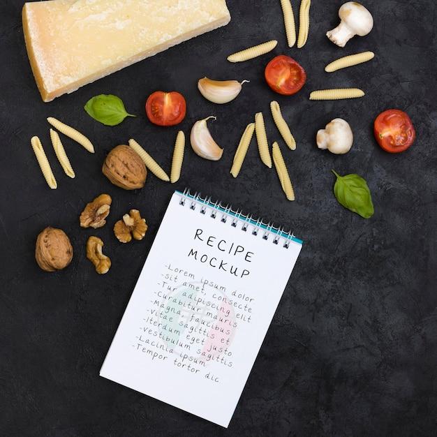 Bovenaanzicht italiaans recept arrangement Premium Psd