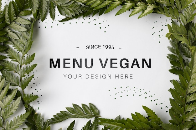 Bovenaanzicht menu vegan concept met mock-up Gratis Psd