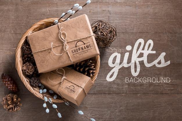 Bovenaanzicht mock-up ingepakte geschenken Gratis Psd