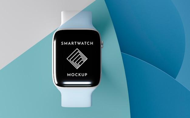Bovenaanzicht moderne smartwatch met schermmodelpresentatie Gratis Psd