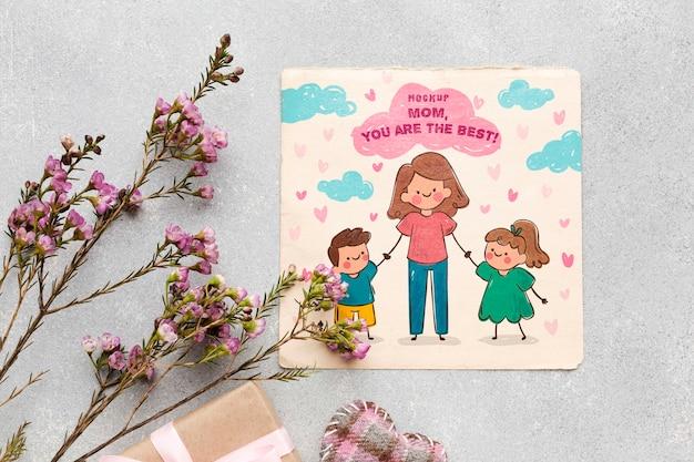 Bovenaanzicht moederdag concept Gratis Psd