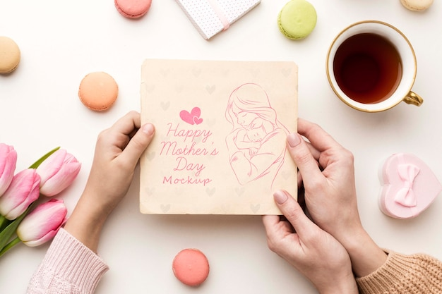 Bovenaanzicht moeders dag wenskaart concept Gratis Psd