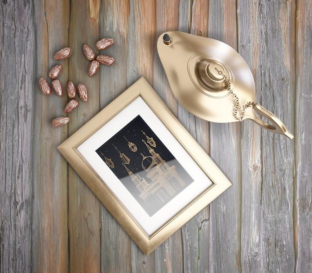 Bovenaanzicht muharram arrangement met gouden lamp Gratis Psd