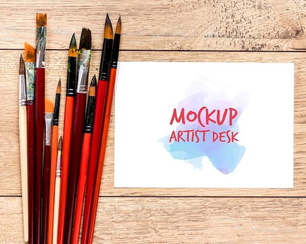 Bovenaanzicht penselen collectie met mock-up Gratis Psd
