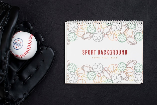 Bovenaanzicht professionele honkbalhandschoen en bal Gratis Psd