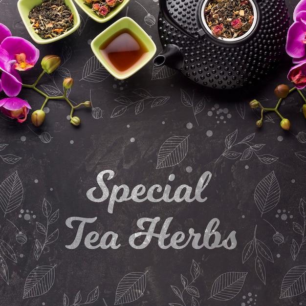 Bovenaanzicht speciale thee kruiden en bloemen Gratis Psd