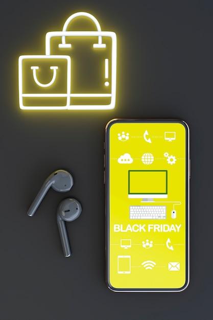 Bovenaanzicht telefoon mock-up met gele neonlichten Gratis Psd