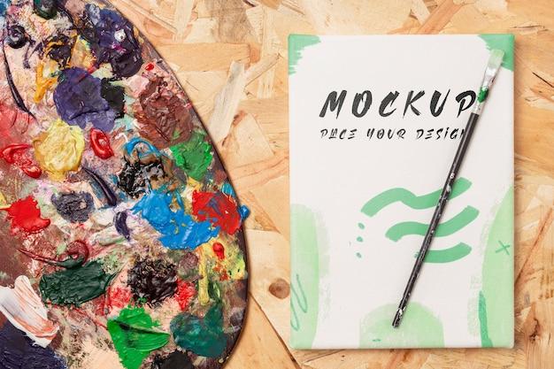 Bovenaanzicht van artistiek concept mock-up Premium Psd
