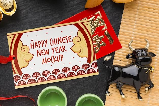 Bovenaanzicht van chinees nieuwjaar mock-up Gratis Psd