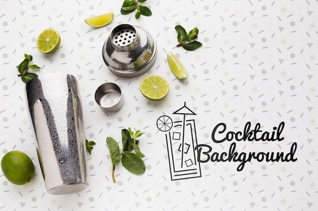 Bovenaanzicht van cocktail mock-up concept Gratis Psd