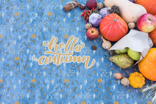 Bovenaanzicht van de herfstoogst met blauwe achtergrond Gratis Psd