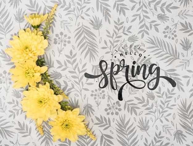 Bovenaanzicht van de lente gerbera Gratis Psd