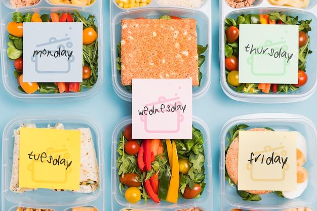 Bovenaanzicht van geplande maaltijden voor voeding Gratis Psd