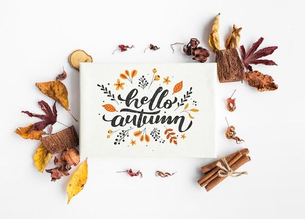 Bovenaanzicht van hallo herfst papier en kleurrijke bladeren Gratis Psd