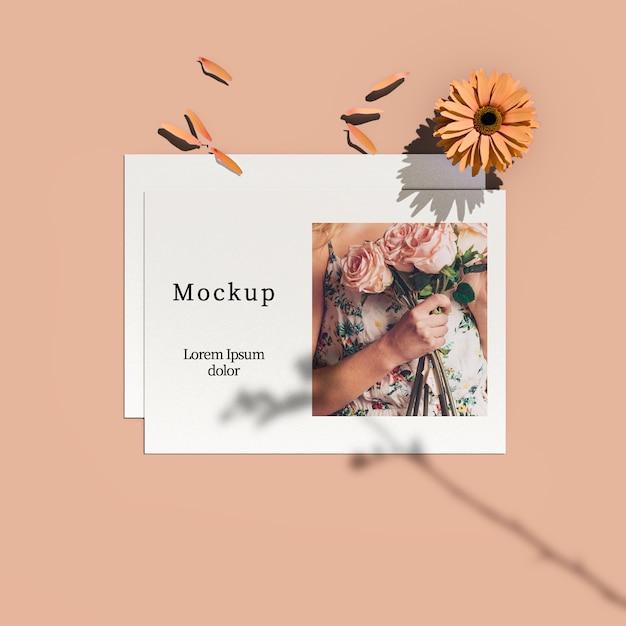 Bovenaanzicht van kaart met bloem en bloemblaadjes Gratis Psd